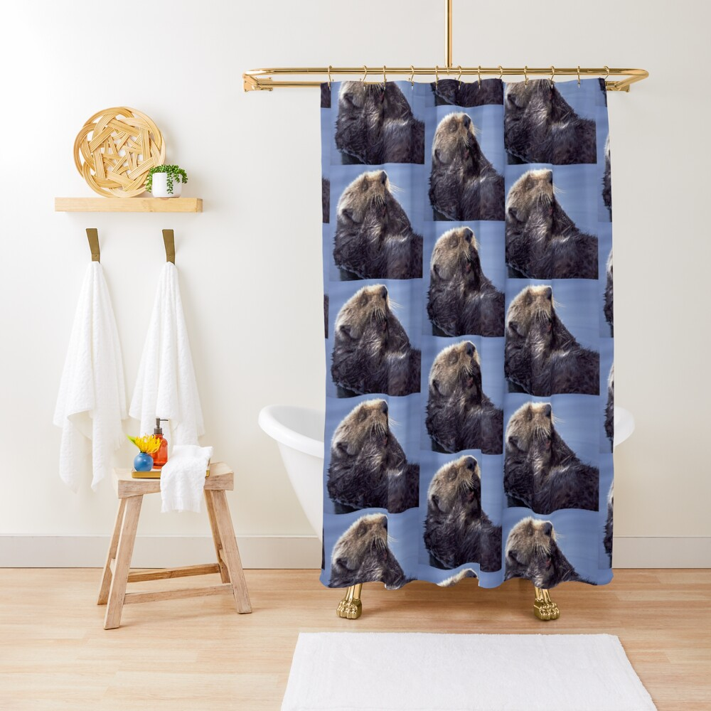 A Southern Sea Otter, preening as it wakes from a nap. Shower Curtain