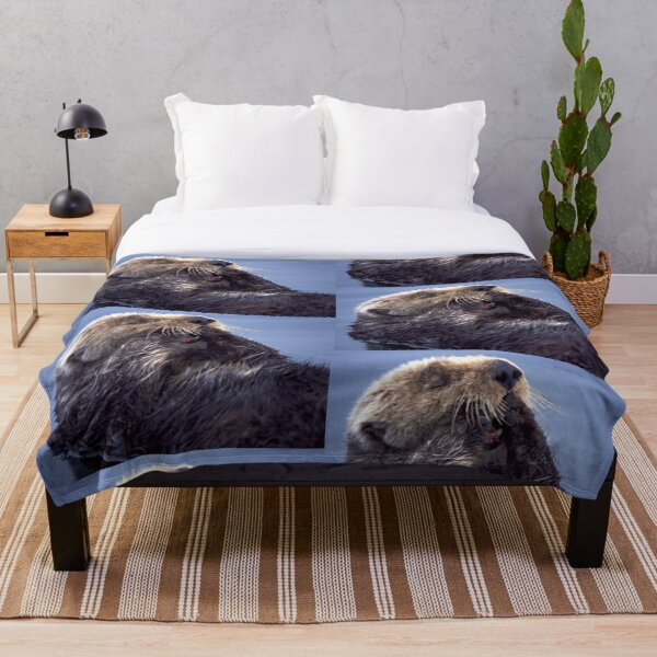 A Southern Sea Otter, preening as it wakes from a nap. Throw Blanket