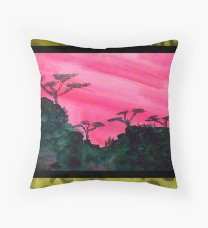 Africa Series (WITH FRAME),, hills with trees in beautiful pink,red sunset, watercolor Throw Pillow