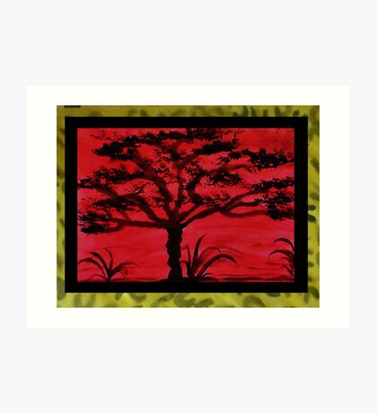 Africa Series (WITH FRAME), Tall tree, watercolor Art Print