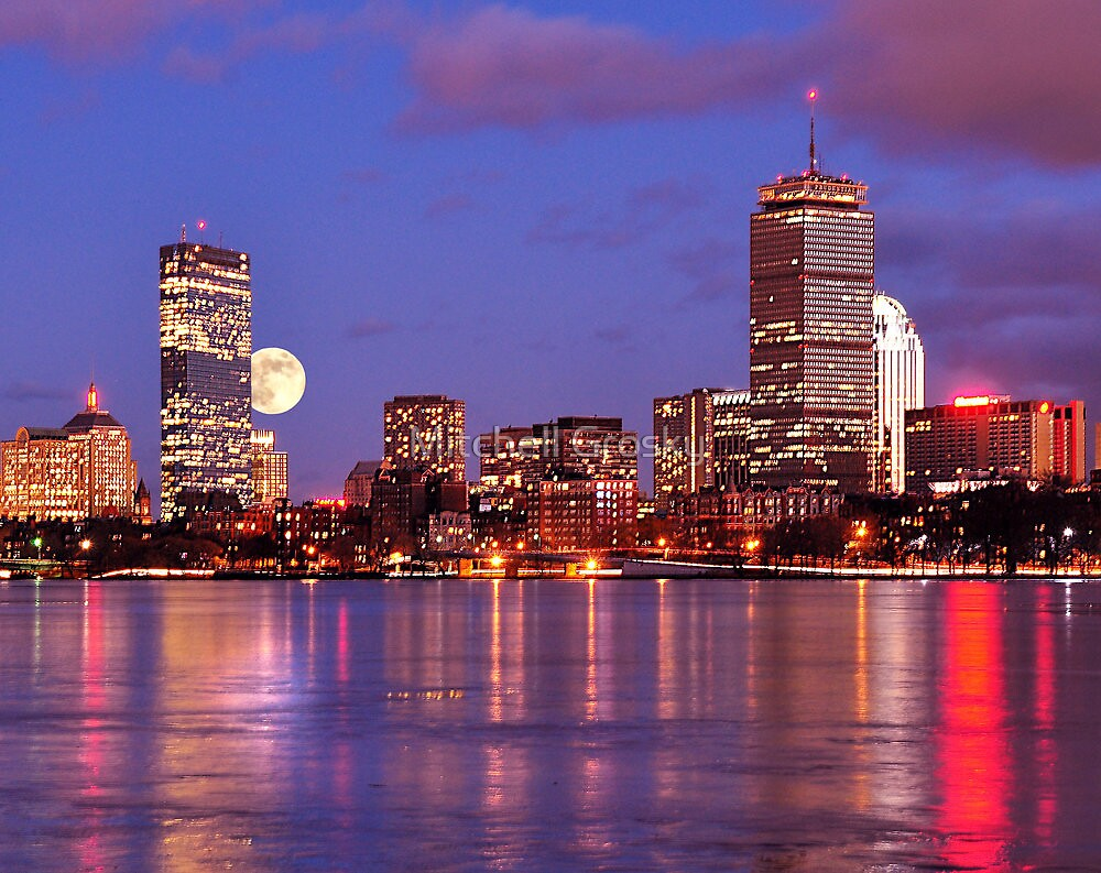 Moonlit Boston on the Charles by Mitchell Grosky