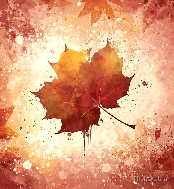 Red Autumn Leaf watercolor by Thubakabra
