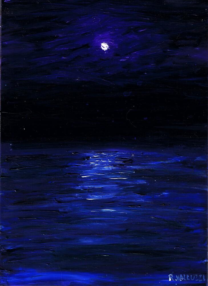 Moonlit water, mini oil painting on masonite by Regina Valluzzi