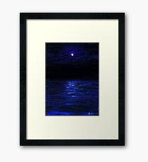 Moonlit water, mini oil painting on masonite Framed Print