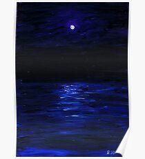 Moonlit water, mini oil painting on masonite Poster