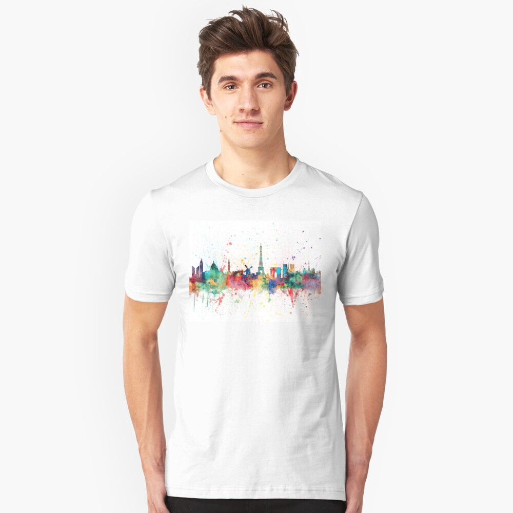 Paris Frankreich Skyline Slim Fit T-Shirt