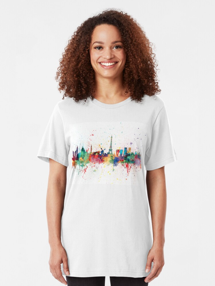 Alternative Ansicht von Paris Frankreich Skyline Slim Fit T-Shirt