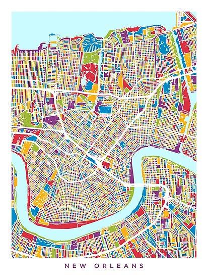 New Orleans Straßenkarte von Michael Tompsett