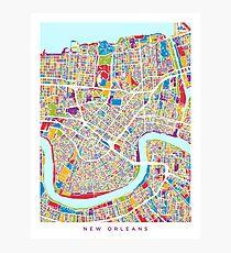 New Orleans Straßenkarte Fotodruck