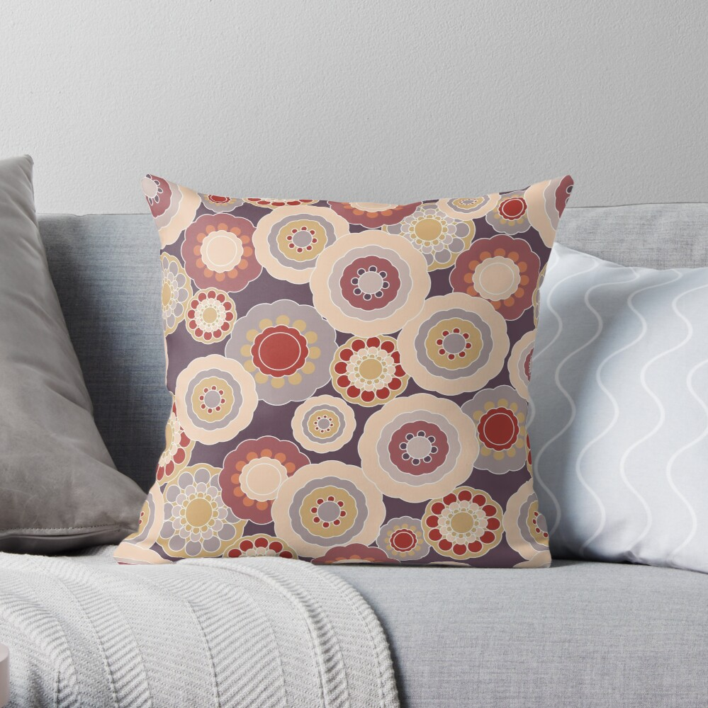 70s Floral V3 Throw Pillow