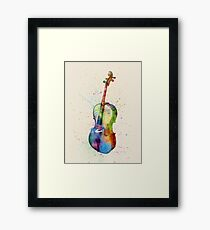 Cello Abstract Watercolor Framed Print