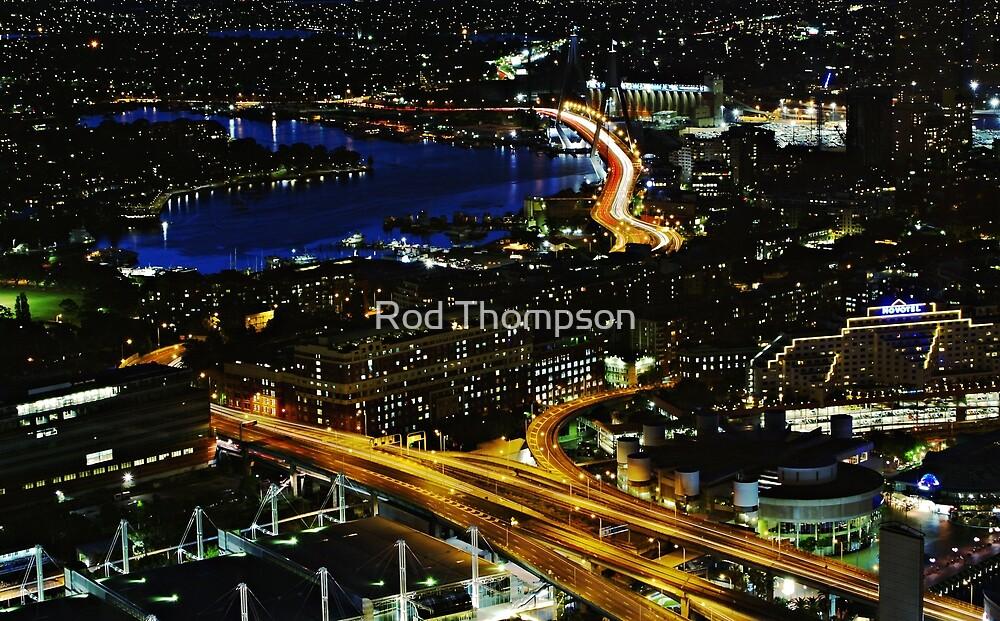 Anzac Bridge at night by Rod Thompson