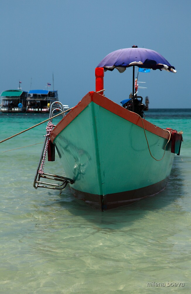 thailand beach with a boat by milena boeva