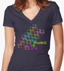 Music Is Life Women's Fitted V-Neck T-Shirt
