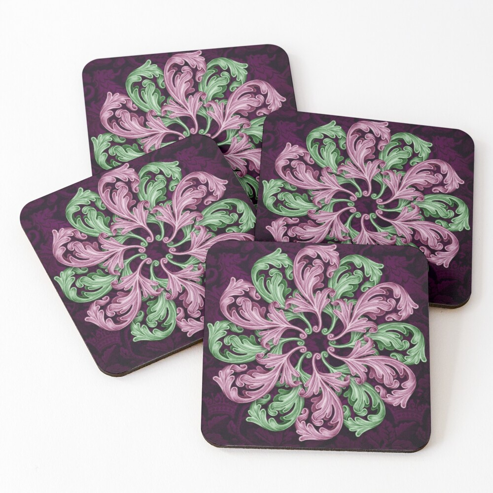 Acanthus mandala Coasters (Set of 4)