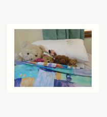 *Five in the bed and the middle one said*  or ..*Four Teddies and a Pink Mouse* Art Print