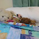 *Five in the bed and the middle one said*  or ..*Four Teddies and a Pink Mouse* by Virginia McGowan