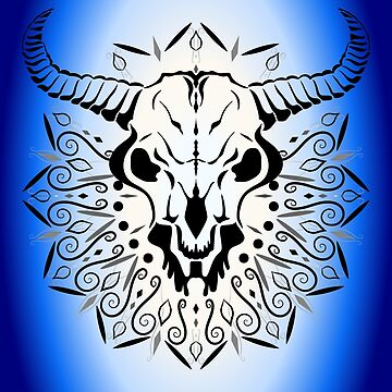 Animal Skull with horns and mandala by NataliSven