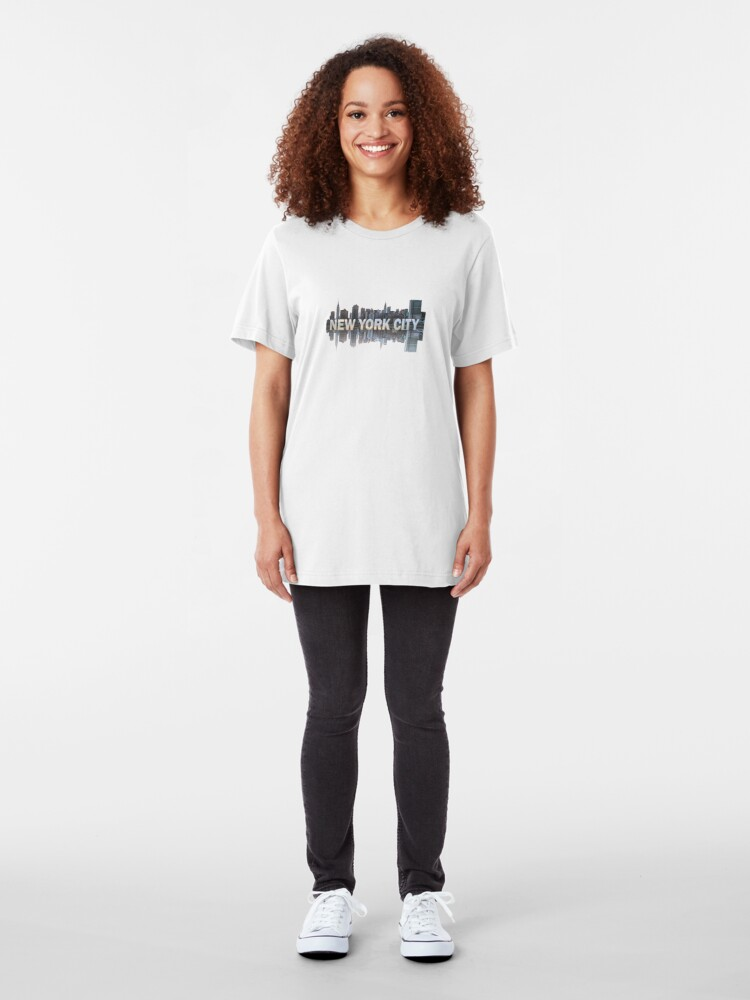Alternate view of New York City Skyline (painted) Slim Fit T-Shirt