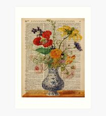 Bouquet of Colourful Meadow Flowers,Dictionary Art,Old Book Page Art Print