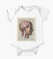 Human Brain Medical Chart Illustration,Vintage Dictionary Art  One Piece - Short Sleeve