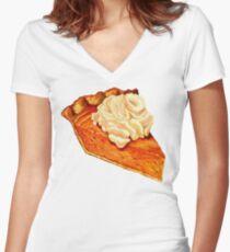 Pumpkin Pie Pattern Women's Fitted V-Neck T-Shirt