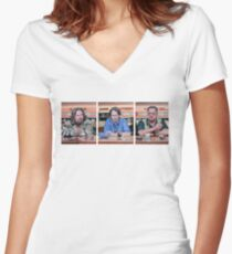 Lebowski Triptych Women's Fitted V-Neck T-Shirt