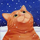 Ginger cat in snow by vickymount