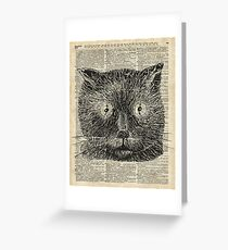 Vintage Steampunk Clock-eyed Cat  Greeting Card