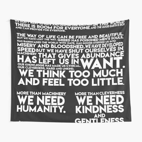 Final speech from The Great Dictator Tapestry