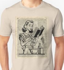 Cooking Girl over Old  Book Page T-Shirt