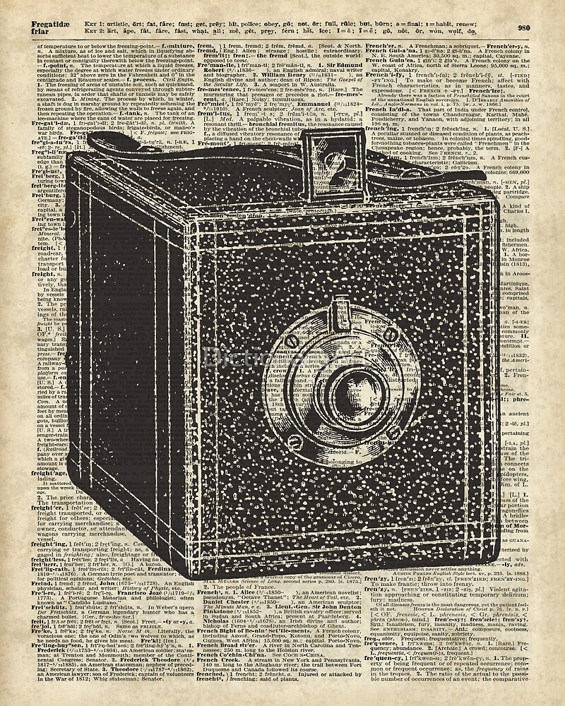 Antique Cube Camera Over Old Encyclopedia Page by DictionaryArt