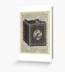 Antique Cube Camera Over Old Encyclopedia Page Greeting Card