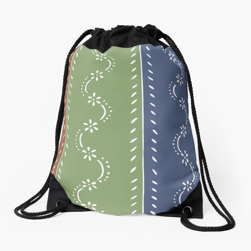 3-colored floral pattern Drawstring Bag