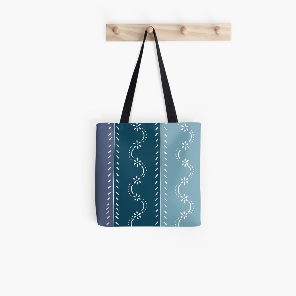 Scattered flower pattern in tone on tone blue pastel colors Tote Bag