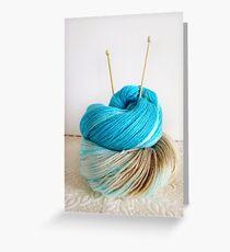 Wool and Knitting Needles Greeting Card