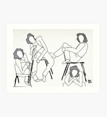 on a chair pencil drawing Art Print