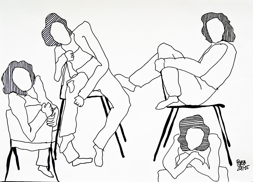 on a chair pencil drawing by pobsb