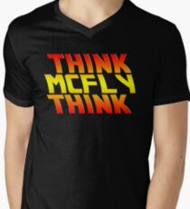 Think, McFly, Think  Men's V-Neck T-Shirt