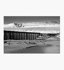 Ribblehead in White - Whernside & Viaduct in the snow Photographic Print