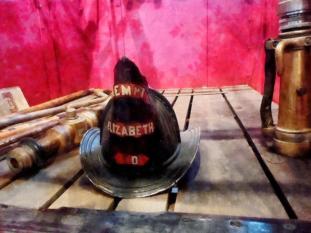 Fire Helmet in Fire Truck by Susan Savad