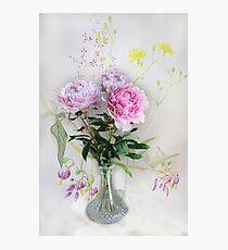Peonies in a vase  Photographic Print