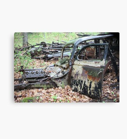 December Old Motor Car Canvas Print