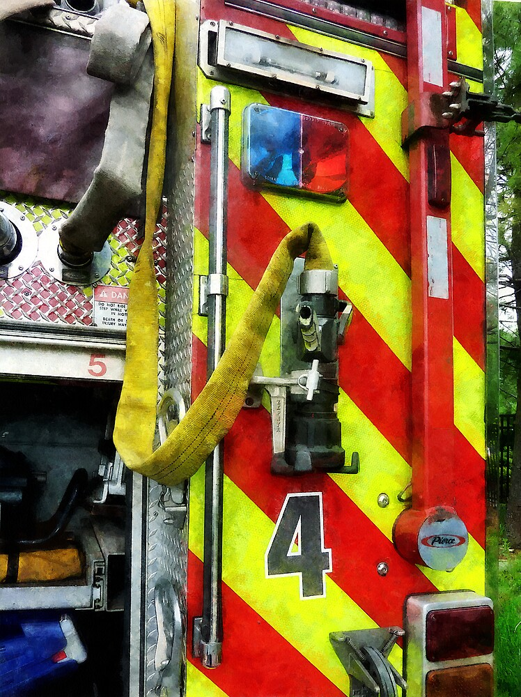 Fire Hose on Striped Fire Engine by Susan Savad