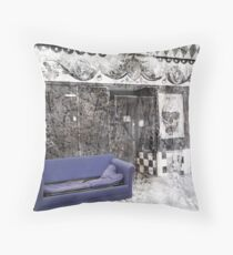 Sit Down (Purple sofa outside old shop) Throw Pillow