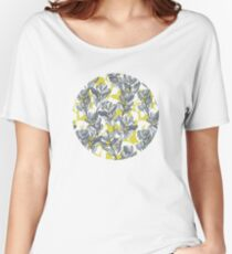 Leaf and Berry Sketch Pattern in Mustard and Ash Women's Relaxed Fit T-Shirt
