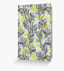 Leaf and Berry Sketch Pattern in Mustard and Ash Greeting Card