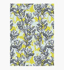 Leaf and Berry Sketch Pattern in Mustard and Ash Photographic Print