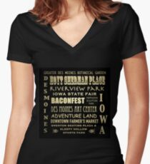Des Moines Iowa Famous Landmarks Women's Fitted V-Neck T-Shirt