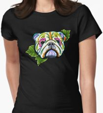 Day of the Dead English Bulldog Sugar Skull Dog Women's Fitted T-Shirt